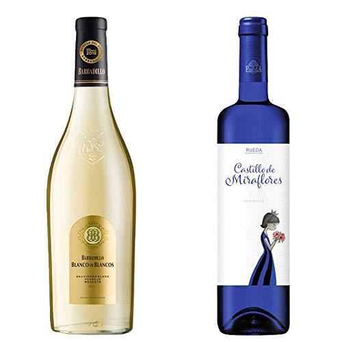Blanco de los Blancos y Castillo de Miraflores - Vino Blanco y D. O. Rueda - 2 botellas de 750 ml