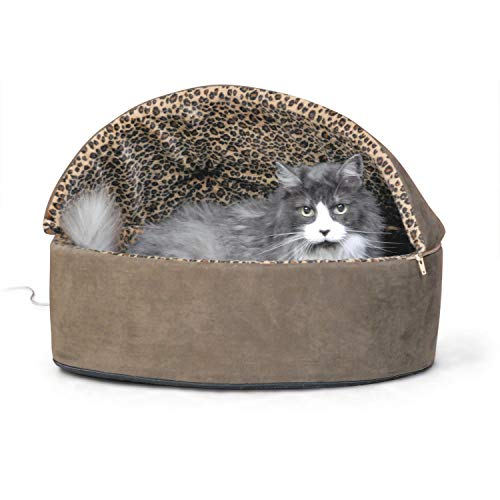 K&H Pet Products Thermo-Kitty Heated Pet Bed Deluxe Large Mocha/Leopard 20' 4W