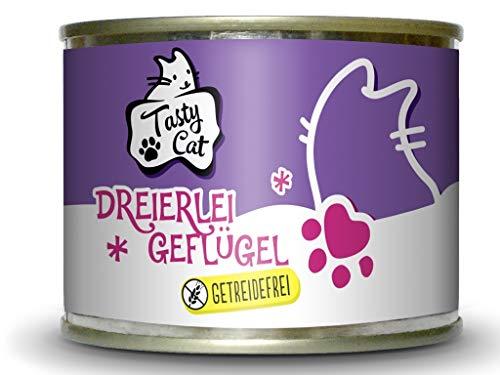 Tasty Cat Nassfutter für Katzen Dreierlei Geflügel 200g.   getreidefrei   zuckerfrei