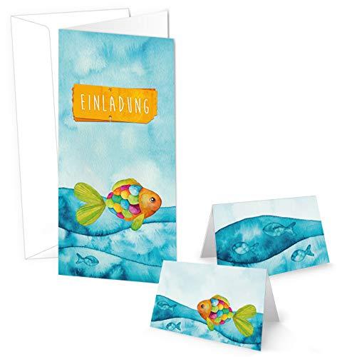 SET mit 10 Einladungskarten + 25 Tischkarten bunter Regenbogen Fisch zur Taufe Kommunion Firmung...