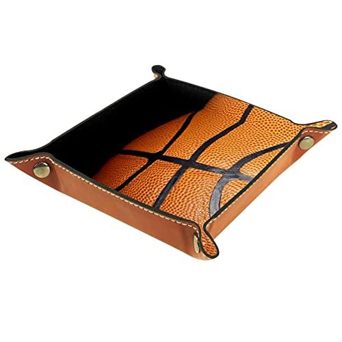 LXYDD Caja de Almacenamiento Multiusos con Bandeja Valet de Cuero Organizador de bandejas Se Utiliza para almacenar pequeños Accesorios,Deportes de Baloncesto de la NBA