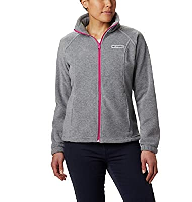 Columbia Women's Plus Size Benton Springs Full Zip Jacket, Soft Fleece with Classic Fit, Light Grey Heather/Fuchsia, 3X