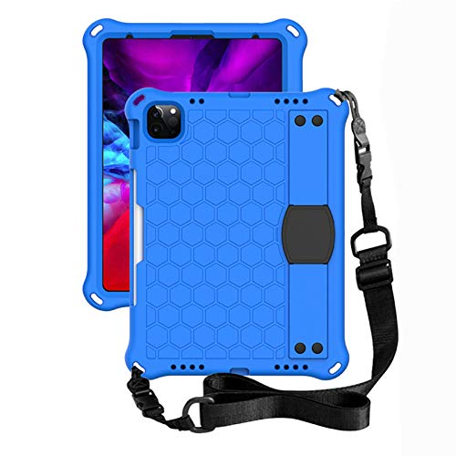 QZPM Ipad Mini Case Ipad Pro 10.5' Case, Heavy Duty Rugged Shock-Proof Drop Protection Case Cover with Rotating Kickstand/Hand Grip/Shoulder Strap for Kids,Students,Blue