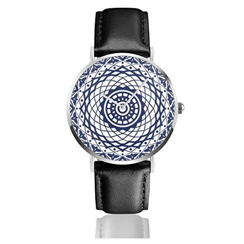 Preisvergleich Produktbild Project Boho Armbanduhr,  blaues Weidenholz,  chinesisches Muster,  Quarzuhrwerk,  Edelstahl,  Lederarmband