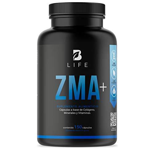 ZMA Plus 150 Cápsulas de Zinc, Magnesio y B6 con Colágeno y Calcio B Life