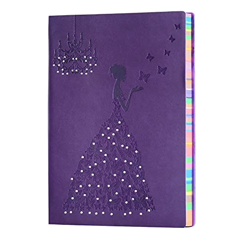 A5 Lined Notebook Planner Travel Journal Leather Notebook for Girls Women Princess Butterfly Journal Notebook Diary, A5 Ruled Writing Notebook Lined Note Pads Purple Journal 240 Pages
