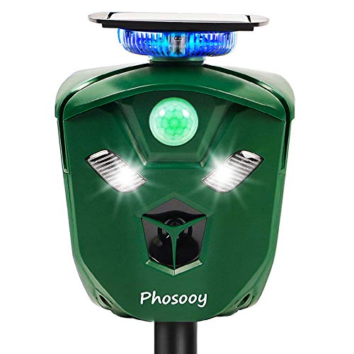 Phosooy Ultrasonic Animal Repeller, Outdoor Weatherproof Solar Powered Rodent Repeller with Motion Activated Flashing LED Light, Repel Dogs, Cat, Squirrels, Raccoon, Rabbit, Fox & More