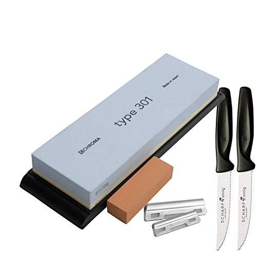 Chroma Schleifstein 1000/3500 + Schleifhilfe Type 301 P-5934 plus 2 x SCHARFsinnig Pizza- und Steakmesser ultra-sägescharf