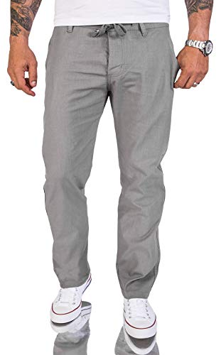 Rock Creek Herren Leinen-Optik Hose Stoffhose Sommerhose Regular Fit Chino Hosen Männer Hose Gummizug Herrenhosen Lang Strandhose RC-2152 Grau W40 L30