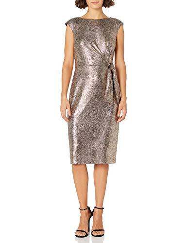 Tahari ASL Women's Petite Side Tie Pencil Skirt Dress, Bronze Black, 10P