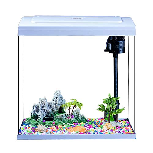 MYYYYI Glas Aquarium Selbstumwälzende Stummschaltungstabellen-LED-Beleuchtung Kein Wasserwechsel für Wohnzimmer inländisches Zuhause 310