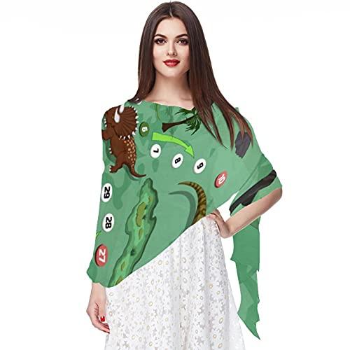 WJJSXKA Bufandas para mujer Bufandas ligeras de moda Estampado floral Patrón Bufanda Chal Wraps, Dinosaurios Juego de mesa Dibujos animados Mapa de aventuras Laberinto