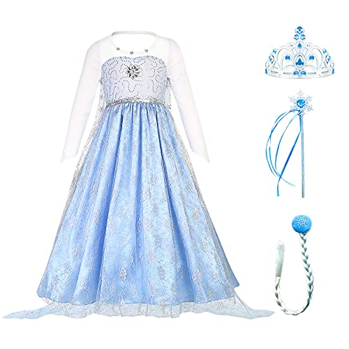 Bailamos Elsa Costume for Girls with Accessories, Long Sleeve Elsa Princess Dress for Party Blue