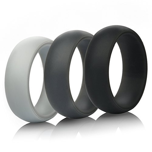ThunderFit Silicone Rings for Men Rubber Wedding Bands - 3 Rings (Black, Gray, Light Gray, 8.5-9 (18.9mm))