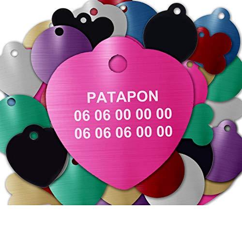 Gravure Concept Médaille pour Chien Et Chat À Personnaliser – Médaillon Gravé 31 mm - 1 à 3 Lignes – 8 Couleurs Disponibles (Rose, Coeur)