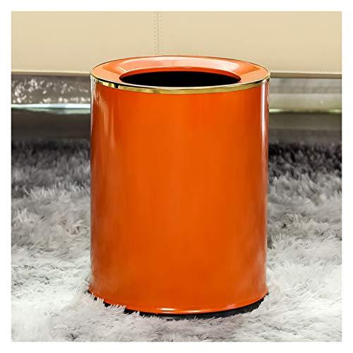 liangzishop Mülleimer Licht Luxus-Runde Trash Can Haushalt Uncovered Wohnzimmer Schlafzimmer Müllbehälter einfach und modern Papierkorb, 14 Liter / 3,6 Gallonen Abfalleimer (Color : Orange-9L)