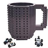 Build-On Brick Mug Set - Gray 12oz 350ml Building Toy Cup Unique DIY Blocks Cup