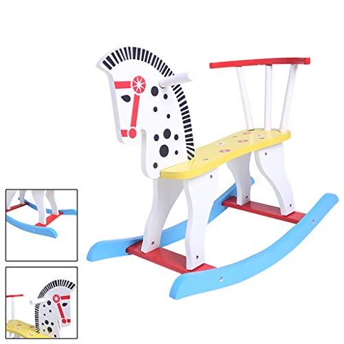Jouets pour poussettes Trojan Cheval à Bascule Enfants Cheval à Bascule Jouet bébé Chaise berçante en Bois Massif bébé 1-3 Ans Cadeau berceaux à Bascule