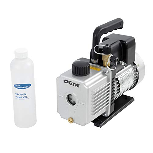 OEM TOOLS 24501 Single Stage Rotary Vane Vacuum Pump | 4 CFM Air Conditioner Dehumidifier Pump | 1/3 HP Motor | HVAC Tool | Good for Wine Degassing | Filtered to Prevent Oil Exhaust | Low Fog