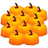 Pumpkin Tea Lights, PChero 12pcs Battery Operated Flickering Flameless LED Decorative Tealights Candles for Thanksgiving, Christmas and Holiday Decor
