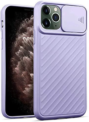 Suhctup Funda protectora para iPhone X/XS, antigolpes y antideslizante, elegante funda de cámara deslizante [protección de cámara] silicona fina protección – violeta