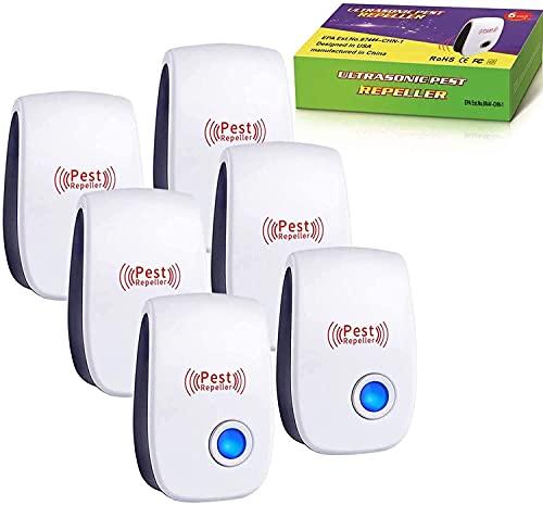 Ultrasonic Pest Repeller, 6 Packs Pest Repellent Plug in, Ultrasonic Pest Control, Indoor for Home, Bedroom, Living Room, Kitchen, Bathroom, Office, Warehouse
