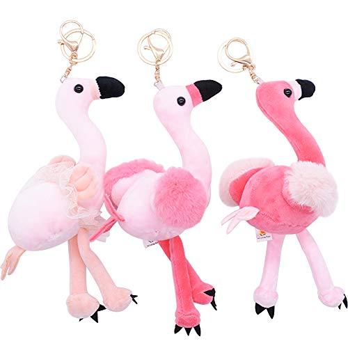 REYOK 3 Pack Peluche Flamencos Llavero,15 cm Color Rosa Flamenco Forma Pequeños Coche Llaveros Pompon Gancho Clip para Mochila, Teléfono móvil, Llavero de Coche Decoración Accesorio