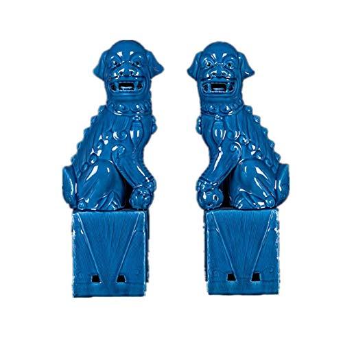WGXY Leones de Beijing, estatuas de Perros Fu Foo, cerámica China, Feng Shui, Prosperidad, casa de Pueblo, decoración de espíritu maligno, Escultura de hogar y Oficina (un par)