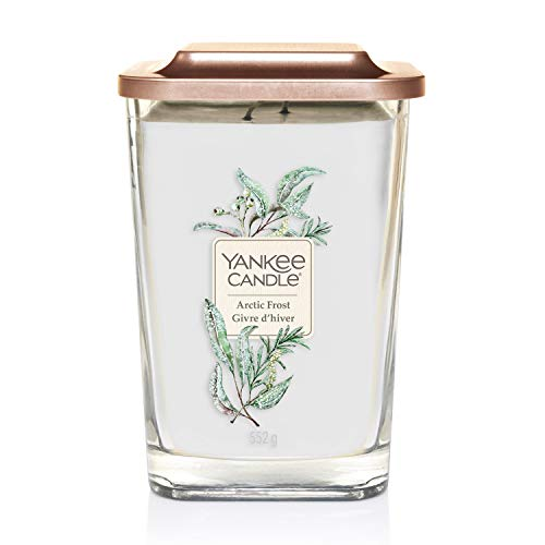 YANKEE CANDLE Elevation Collection con Coperchio Utilizzabile Come Base Candela Quadrata a 2 Stoppini, Cera, Gelo Artico, Grande