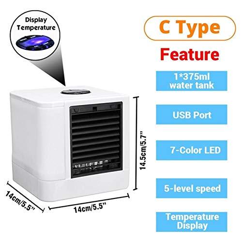 CCCLLL Mini portátil de Aire Acondicionado, con Dos Piscinas de enfriamiento Ventilador USB Oficina de Agua a la habitación, Oficina humidificador, purificador de Aire,VS