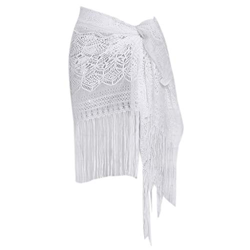 65x155cm para Mujer Playa Traje de baño Cubierta étnico patrón Hueco Ganchillo Sarong Wrap Falda borlas notables ecológico Remiendo del Remiendo Sheer Bufanda Bufanda