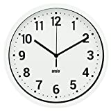 ANSIO Reloj de Pared, Reloj de Pared Redondo con Marco Blanco, Fondo Blanco y números Negros, Ideal para el hogar, la Cocina y la Oficina.