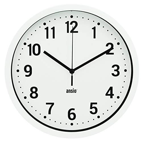 ANSIO Reloj de Pared, Reloj de Pared Redondo con Marco Blanco, Fondo Blanco y números Negros, Ideal...