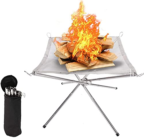Jukmen Portable Outdoor Fire Pit Collapsing Steel Mesh Basket Patio Heater Log Wood Charcoal Burner Brazier for Patio, Camping, Barbecue, Backyard and Garden - Carrying Bag Included