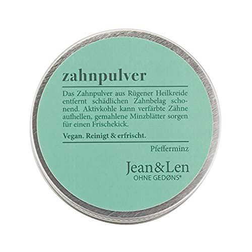 Jean & Len Zahnpulver, Aktivkohle Pulver für natürliche Zahnaufhellung mit Pfefferminz Geschmack