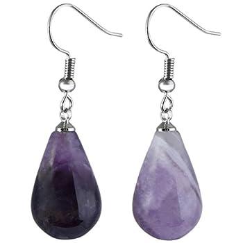SUNYIK Purple Amethyst Waterdrop Dangle Earrings for Women