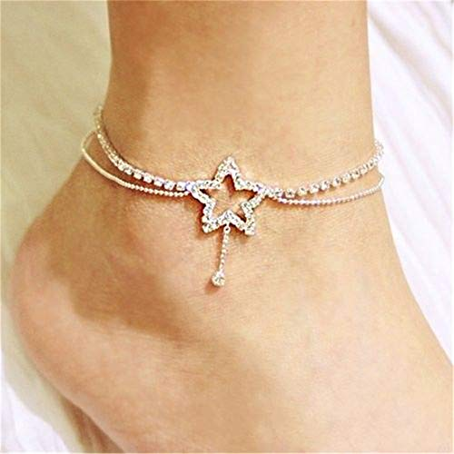 Sperrins Heart Pattern Crystal Anklet Women Simple Rhinestone Anklet Foot Accessories Color 1