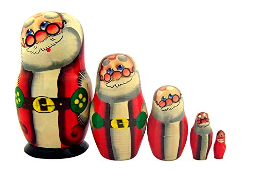 Christmas Santa Claus Nesting Dolls Russian Stacking Toys, 4 Inch, Red