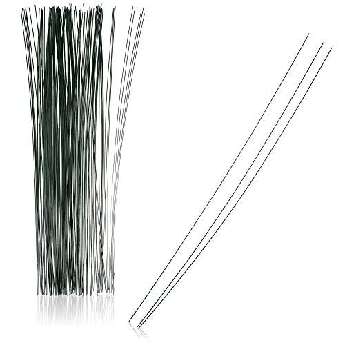 com-four® 100x Floristendraht - Drahtstäbe ummantelt für Pflanzen - Steckdraht grün - Basteldraht - Bindedraht zum Modellieren und Fixieren von Pflanzen - 300 x 0,8 mm (100 Stück 300 x 0.8 mm)