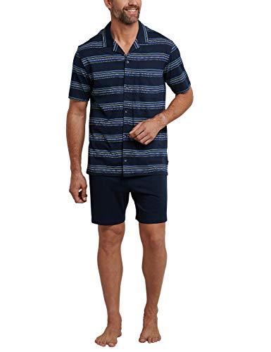 Schiesser Herren Pyjama Kurz Zweiteiliger Schlafanzug, Blau (Dunkelblau 803), Medium (Herstellergröße: 050)