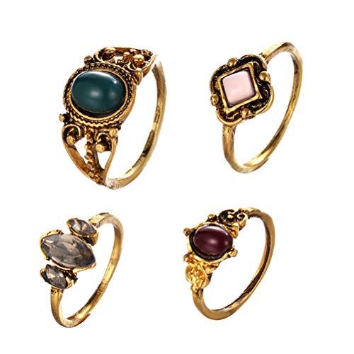 Fenical 4 Pezzi Vintage Gemstone Ring Knuckle Anelli Accessori per Gioielli per Donna Ladies