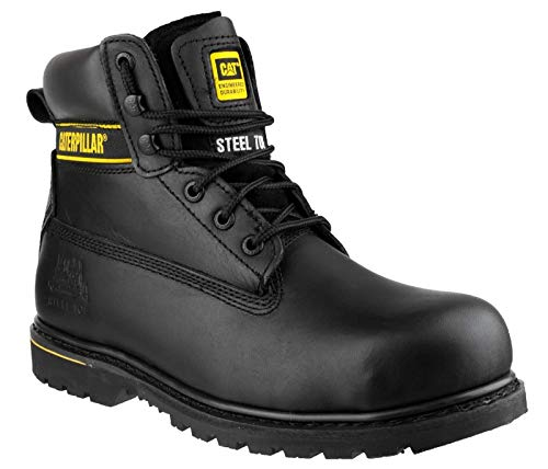 "Caterpillar Mens Holton SB Wide FIT Leather Safety Steel Toe Cap 6"" Work Boots -Black-UK 15 (EU 49)"