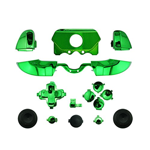 WPS Chrome ABXY Dpad Triggers Full Buttons Set Mod Kits for 1697 1698 Xbox One/Elite Controller (3.5mm Port) with Screwdriver (Torx T6 T8) Set (Chrome Green)