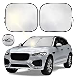Car windshield sun shade foldable 2-Piece car sun screen for front window sun visor protector shield blocker for car window covers Blocks Max UV Rays and Keeps Your Vehicle Cool (Small(23.5' x 29'))