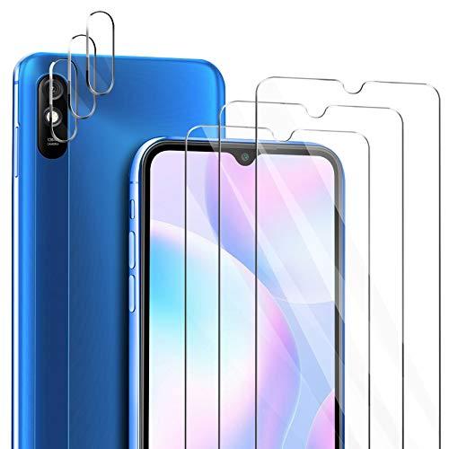 ivencase für Xiaomi Redmi Note 9A Panzerglas Schutzfolie [3 Stücke] + Xiaomi Redmi Note 9A Kamera Panzerglas [3 Stücke], Blasenfrei Anti-Staub Anti-Öl Displayfolie