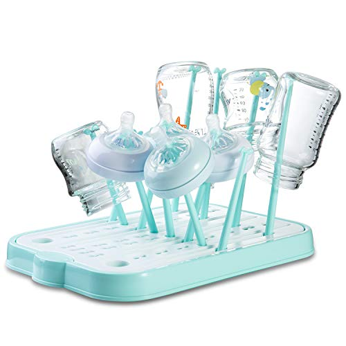 Baby Bottle Drying Rack Countertop Dryer Rack with Drainer Board for Baby Bottles and AccessoriesBlue