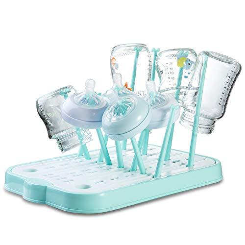 Trockenständer für Flaschen, Babyflaschen Abtropfgestelle für Sauger, Becher, Pumpenteile und Zubehör, BPA-frei (Blau)