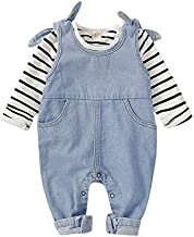 18 Months Girl Clothes Toddler Girl Winter Outfit Stripe Long Sleeve T Shirt Denim Jumpsuit Romper Jean Overalls Boutique Girl Clothing 12-18 Months
