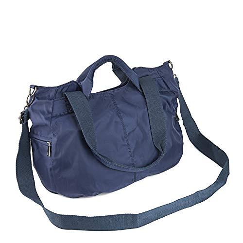 ZOOEASS Women Fashion Large Tote Shoulder Handbag Waterproof Multi-function Nylon Travel Crossbody Bags (Blue)