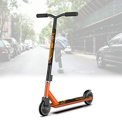 Dos Ruedas Scooters Competitivos para NiñOs Adolescentes,Scooters de Pedales Extremos,Scooters Escolares con Cool Stunts/OperacióN FáCil,Orange Nylon Wheel
